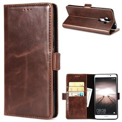 Luxury Crazy Horse PU Leather Wallet Case for Huawei Mate9 Mate 9 - Coffee