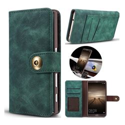 Luxury Vintage Split Separated Leather Wallet Case for Huawei Mate9 Mate 9 - Dark Green