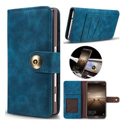 Luxury Vintage Split Separated Leather Wallet Case for Huawei Mate9 Mate 9 - Navy Blue