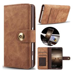 Luxury Vintage Split Separated Leather Wallet Case for Huawei Mate9 Mate 9 - Brown