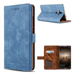 Luxury Vintage Mesh Monternet Leather Wallet Case for Huawei Mate9 Mate 9 - Blue