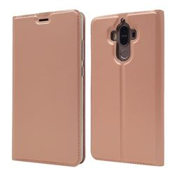Ultra Slim Card Magnetic Automatic Suction Leather Wallet Case for Huawei Mate9 Mate 9 - Rose Gold