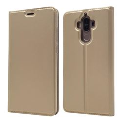 Ultra Slim Card Magnetic Automatic Suction Leather Wallet Case for Huawei Mate9 Mate 9 - Champagne