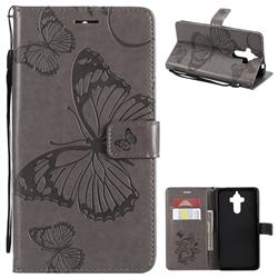 Embossing 3D Butterfly Leather Wallet Case for Huawei Mate9 Mate 9 - Gray