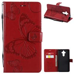 Embossing 3D Butterfly Leather Wallet Case for Huawei Mate9 Mate 9 - Red