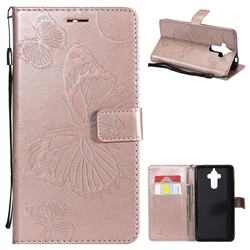 Embossing 3D Butterfly Leather Wallet Case for Huawei Mate9 Mate 9 - Rose Gold