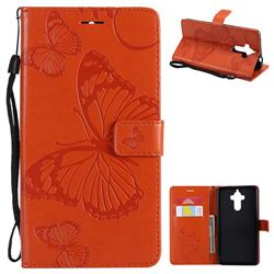Embossing 3D Butterfly Leather Wallet Case for Huawei Mate9 Mate 9 - Orange