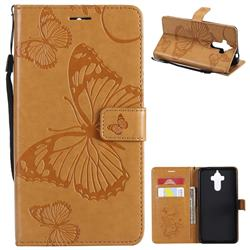 Embossing 3D Butterfly Leather Wallet Case for Huawei Mate9 Mate 9 - Yellow