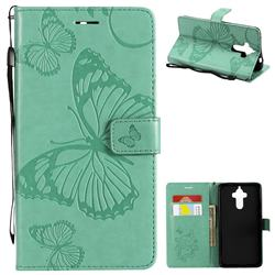 Embossing 3D Butterfly Leather Wallet Case for Huawei Mate9 Mate 9 - Green