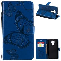 Embossing 3D Butterfly Leather Wallet Case for Huawei Mate9 Mate 9 - Blue