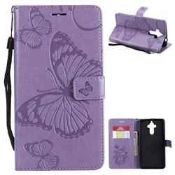 Embossing 3D Butterfly Leather Wallet Case for Huawei Mate9 Mate 9 - Purple