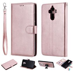Retro Greek Detachable Magnetic PU Leather Wallet Phone Case for Huawei Mate9 Mate 9 - Rose Gold