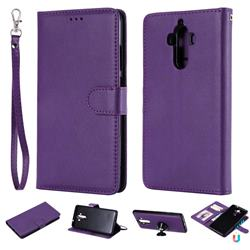 Retro Greek Detachable Magnetic PU Leather Wallet Phone Case for Huawei Mate9 Mate 9 - Purple