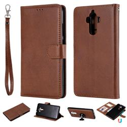 Retro Greek Detachable Magnetic PU Leather Wallet Phone Case for Huawei Mate9 Mate 9 - Brown