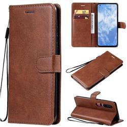 Retro Greek Classic Smooth PU Leather Wallet Phone Case for Xiaomi Mi 10 / Mi 10 Pro 5G - Brown