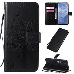 Embossing Butterfly Tree Leather Wallet Case for Xiaomi Mi 10 / Mi 10 Pro 5G - Black