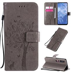 Embossing Butterfly Tree Leather Wallet Case for Xiaomi Mi 10 / Mi 10 Pro 5G - Grey