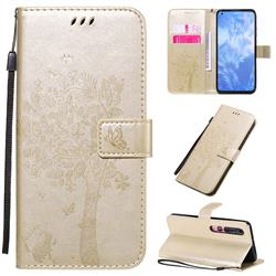 Embossing Butterfly Tree Leather Wallet Case for Xiaomi Mi 10 / Mi 10 Pro 5G - Champagne