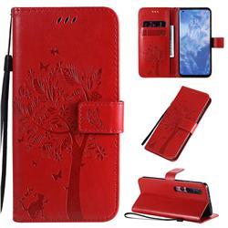 Embossing Butterfly Tree Leather Wallet Case for Xiaomi Mi 10 / Mi 10 Pro 5G - Red