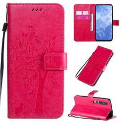 Embossing Butterfly Tree Leather Wallet Case for Xiaomi Mi 10 / Mi 10 Pro 5G - Rose