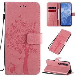 Embossing Butterfly Tree Leather Wallet Case for Xiaomi Mi 10 / Mi 10 Pro 5G - Pink