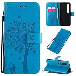 Embossing Butterfly Tree Leather Wallet Case for Xiaomi Mi 10 / Mi 10 Pro 5G - Blue