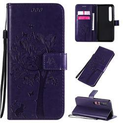 Embossing Butterfly Tree Leather Wallet Case for Xiaomi Mi 10 / Mi 10 Pro 5G - Purple
