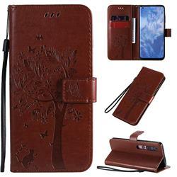 Embossing Butterfly Tree Leather Wallet Case for Xiaomi Mi 10 / Mi 10 Pro 5G - Coffee