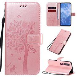 Embossing Butterfly Tree Leather Wallet Case for Xiaomi Mi 10 / Mi 10 Pro 5G - Rose Pink