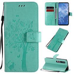 Embossing Butterfly Tree Leather Wallet Case for Xiaomi Mi 10 / Mi 10 Pro 5G - Cyan