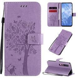 Embossing Butterfly Tree Leather Wallet Case for Xiaomi Mi 10 / Mi 10 Pro 5G - Violet