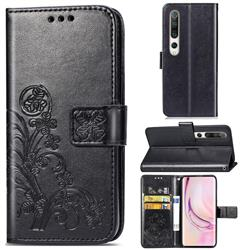 Embossing Imprint Four-Leaf Clover Leather Wallet Case for Xiaomi Mi 10 / Mi 10 Pro 5G - Black