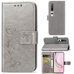 Embossing Imprint Four-Leaf Clover Leather Wallet Case for Xiaomi Mi 10 / Mi 10 Pro 5G - Grey