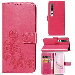 Embossing Imprint Four-Leaf Clover Leather Wallet Case for Xiaomi Mi 10 / Mi 10 Pro 5G - Rose Red