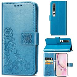 Embossing Imprint Four-Leaf Clover Leather Wallet Case for Xiaomi Mi 10 / Mi 10 Pro 5G - Blue