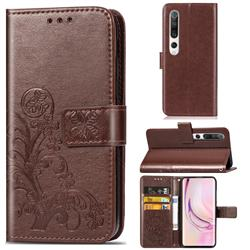 Embossing Imprint Four-Leaf Clover Leather Wallet Case for Xiaomi Mi 10 / Mi 10 Pro 5G - Brown