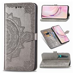 Embossing Imprint Mandala Flower Leather Wallet Case for Xiaomi Mi 10 / Mi 10 Pro 5G - Gray