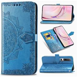 Embossing Imprint Mandala Flower Leather Wallet Case for Xiaomi Mi 10 / Mi 10 Pro 5G - Blue
