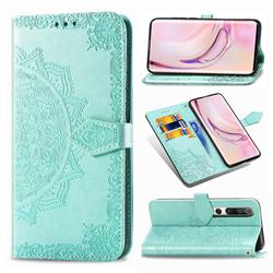 Embossing Imprint Mandala Flower Leather Wallet Case for Xiaomi Mi 10 / Mi 10 Pro 5G - Green