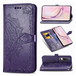 Embossing Imprint Mandala Flower Leather Wallet Case for Xiaomi Mi 10 / Mi 10 Pro 5G - Purple