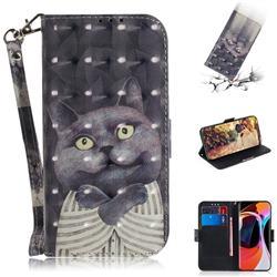 Cat Embrace 3D Painted Leather Wallet Phone Case for Xiaomi Mi 10 / Mi 10 Pro 5G