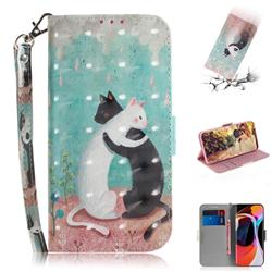 Black and White Cat 3D Painted Leather Wallet Phone Case for Xiaomi Mi 10 / Mi 10 Pro 5G