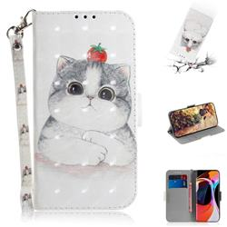 Cute Tomato Cat 3D Painted Leather Wallet Phone Case for Xiaomi Mi 10 / Mi 10 Pro 5G