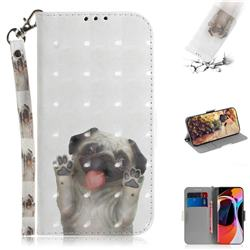 Pug Dog 3D Painted Leather Wallet Phone Case for Xiaomi Mi 10 / Mi 10 Pro 5G