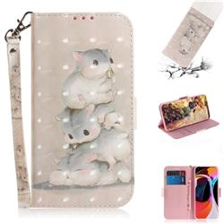 Three Squirrels 3D Painted Leather Wallet Phone Case for Xiaomi Mi 10 / Mi 10 Pro 5G