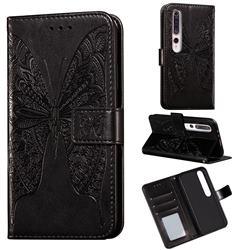 Intricate Embossing Vivid Butterfly Leather Wallet Case for Xiaomi Mi 10 / Mi 10 Pro 5G - Black