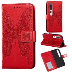 Intricate Embossing Vivid Butterfly Leather Wallet Case for Xiaomi Mi 10 / Mi 10 Pro 5G - Red