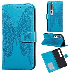 Intricate Embossing Vivid Butterfly Leather Wallet Case for Xiaomi Mi 10 / Mi 10 Pro 5G - Blue