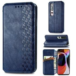 Ultra Slim Fashion Business Card Magnetic Automatic Suction Leather Flip Cover for Xiaomi Mi 10 / Mi 10 Pro 5G - Dark Blue