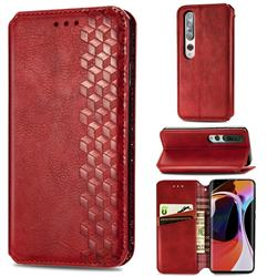 Ultra Slim Fashion Business Card Magnetic Automatic Suction Leather Flip Cover for Xiaomi Mi 10 / Mi 10 Pro 5G - Red